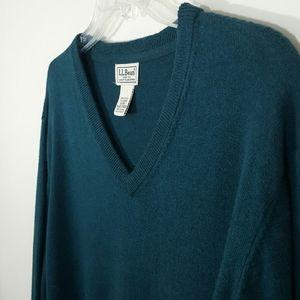 L.L. BEAN Spruce Green/Teal V-Neck Sweater-XL